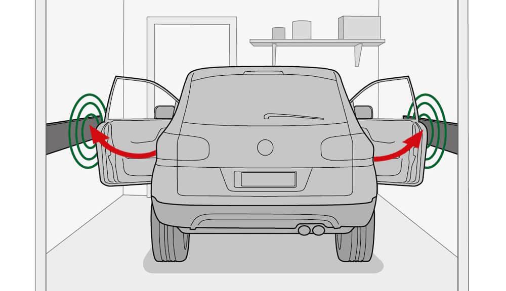 Der Wandschutz für die Autotür von Athlon Tools ist besonders stark gepolstert, um starke Stöße abzufangen (Bild: Athlon Tools).